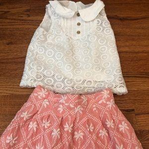 Oshkosh kids skirt + lace overlay tank set 2T